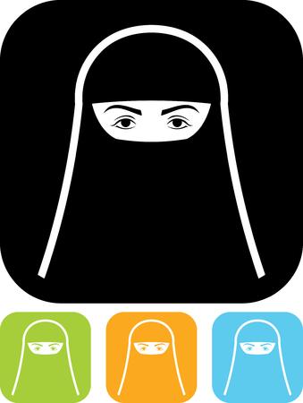 volto di donna musulmana in burqa isolato