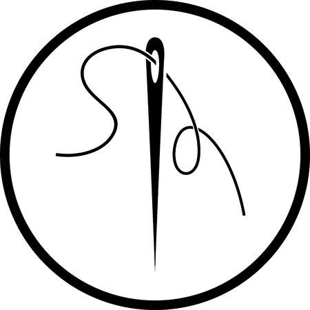Nadel und Faden Vektor-Symbol Vektorgrafik