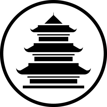 Asian Pagoda Tower vector icon isolated Vector Illustration