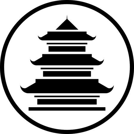 Asian Pagode Tour vecteur icône isolé Vecteurs