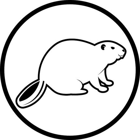 Beaver icono del vector aislado