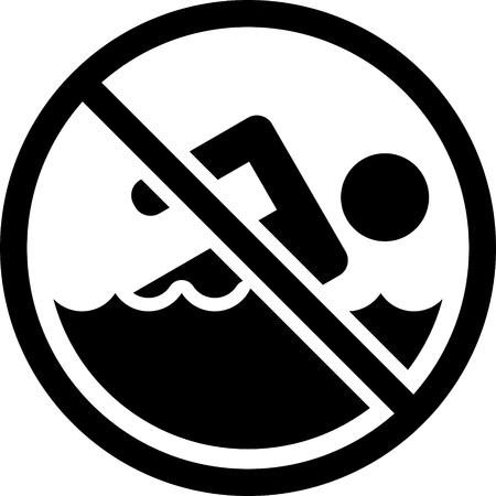 Aucun signe de natation vecteur Banque d'images - 52870048