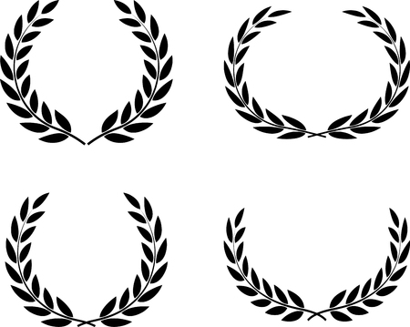 Laurel wreaths set vector isolated