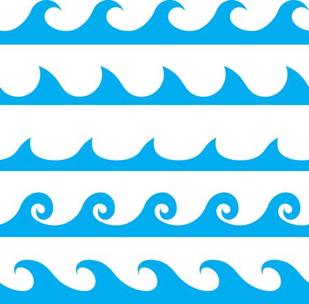 Naadloze vector blauwe golf lijnenpatroon
