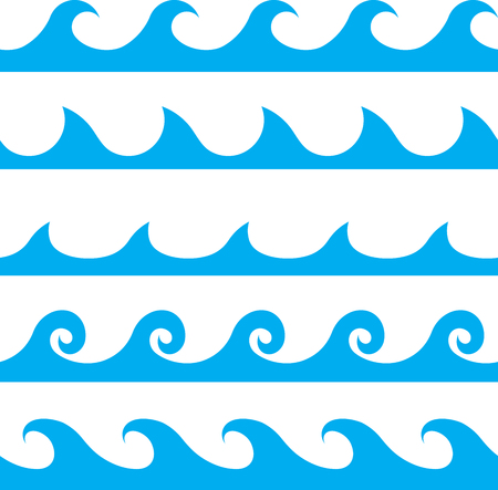 Wektor bez szwu niebieski wzór linii fali