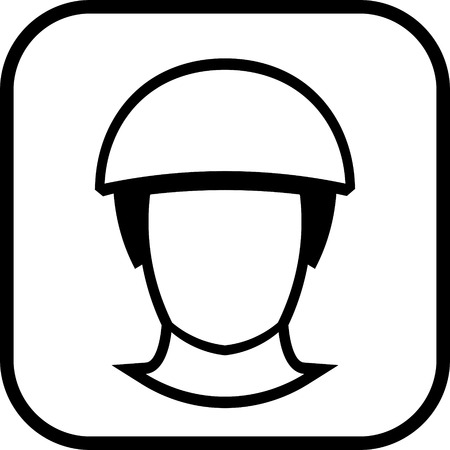 Man head in helmet vector icon