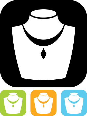 Necklace jewelry vector icon Illustration