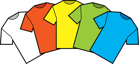 T-shirts blank color vector illustration Vectores