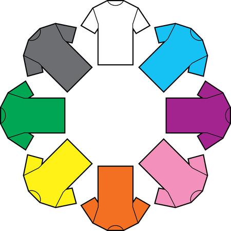 T-shirts blank color vector illustration Ilustração