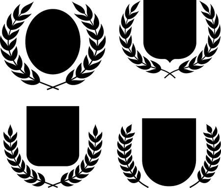 Les armoiries, des boucliers et des couronnes de laurier vecteur