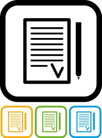 Ondertekenen de overeenkomst - Vectorpictogram Stock Illustratie