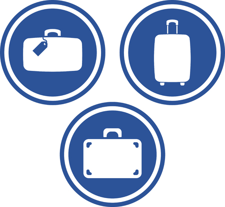 Vector travel bags suitcases baggage luggage claim pictos icons