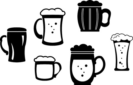 Beer glasses and mugs - Vector illustration