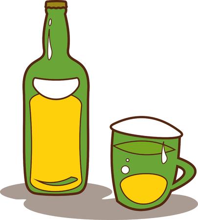 Bier fles en mug - Vector illustratie op wit wordt geïsoleerd