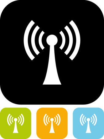 Radio antenna tower broadcasting - Vector icon isolated Illustration