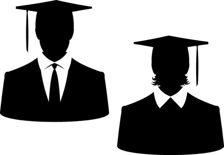 Graduados masculinos femeninos en sombreros - Vector aislado en blanco