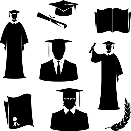 Los graduados en vestidos y sombreros y artículos de la graduación del vector