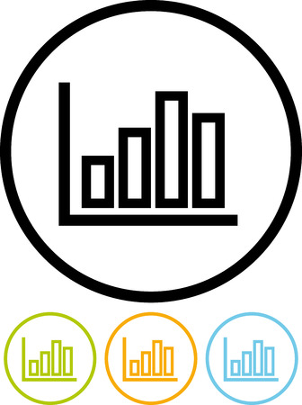 Statistics graphic. Stats graph - Vector icon isolated on white 向量圖像