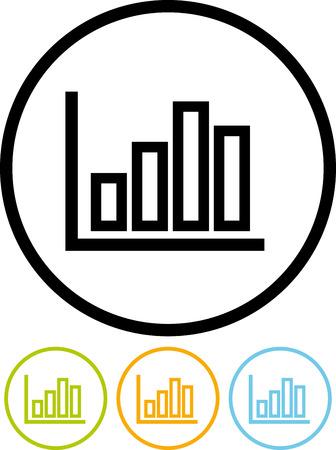 Statistieken grafisch. Statistieken grafiek - Vector pictogram op wit wordt geïsoleerd