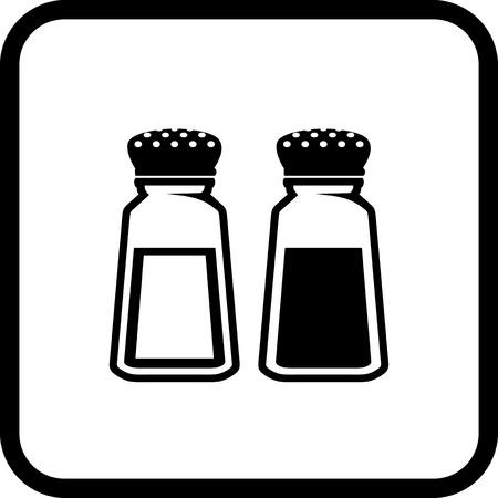 塩、コショウ - 白で隔離ベクトル アイコン