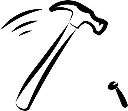 Hammer hitting nail. Vector illustration