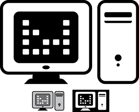 Desktop pc computer hardware vector icon