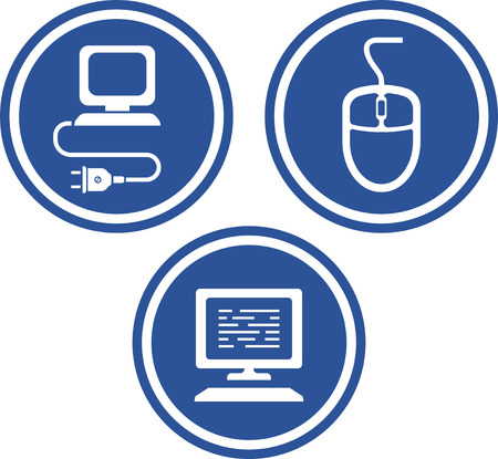 Computer hardware items - mouse, keyboard, cable plug. Vector icons Illustration