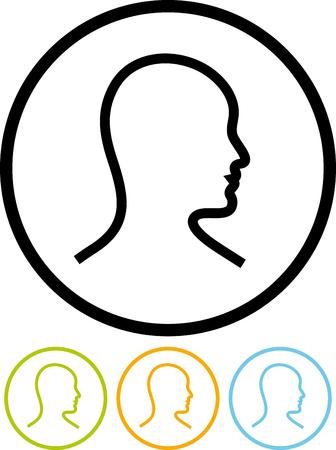 人間の頭の男プロフィール - 白で隔離ベクトル アイコン  イラスト・ベクター素材
