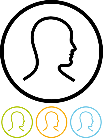 Human head man profile - Vector icon isolated on white