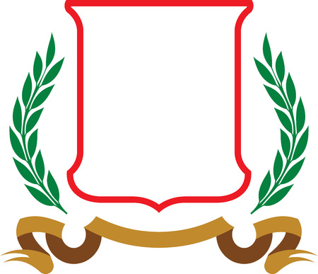 Vector coat of arms - Shield and Laurel Wreath isolated