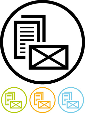 Paper letter message postal envelope - Vector icon isolated Ilustração