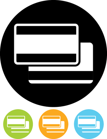 Credit debit bank payment cards vector icon