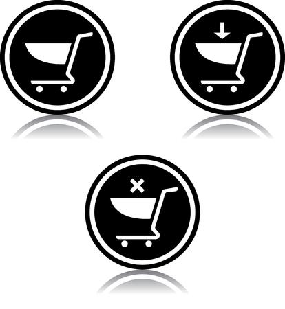 Shopping carts vector icon Banco de Imagens - 53139379