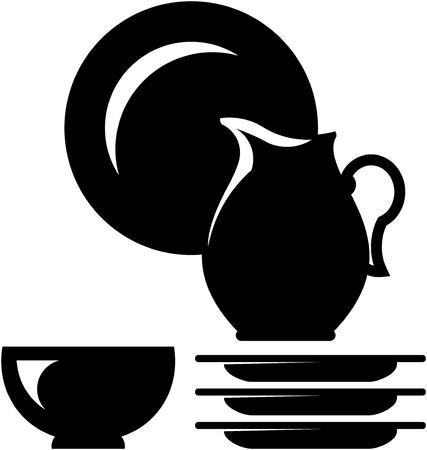 Crockery dishware illustration. Jug and dishes