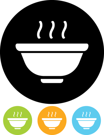 Hot meal cup steamy bowl food court Illustration
