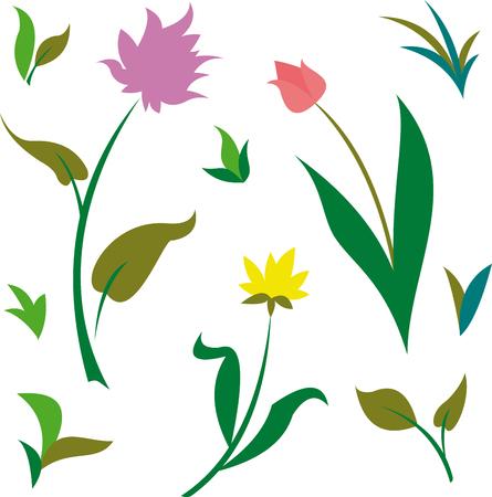 봄과 여름 녹색 식물과 꽃 패턴 벡터 일러스트