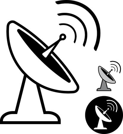 Schotelantenne - Vector pictogram geïsoleerde