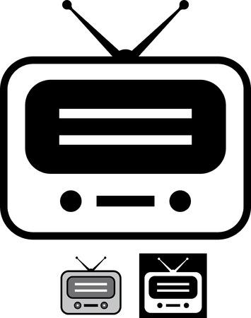 Retro radio vector icon