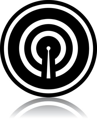 Antenna broadcasting radio signal - Vector icon isolated