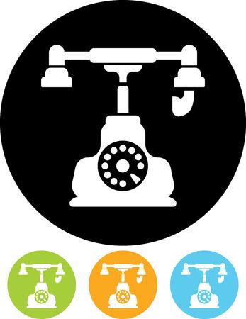 Landline phone vector icon. Contact us