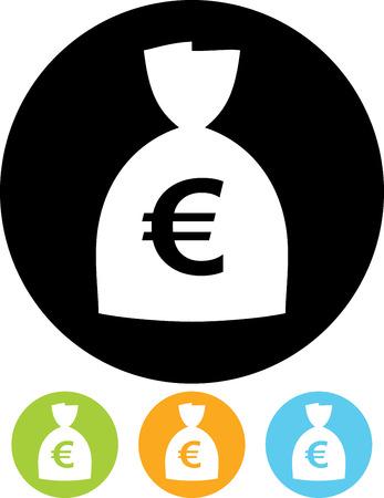 Zak met contant geld. Euro valuta - Vector pictogram