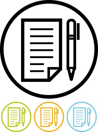 문서 및 펜 일러스트
