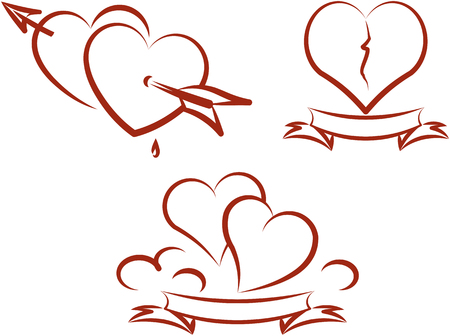 Love and romance - Valentines and broken hearts. Vector tattoo illustration
