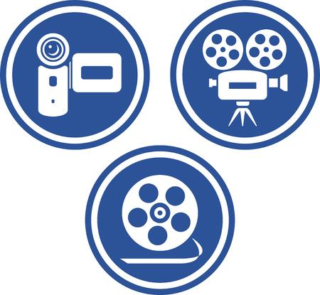 Film et caméras vidéo - icônes vectorielles