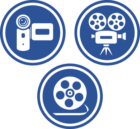 Movie and video cameras - Vector icons