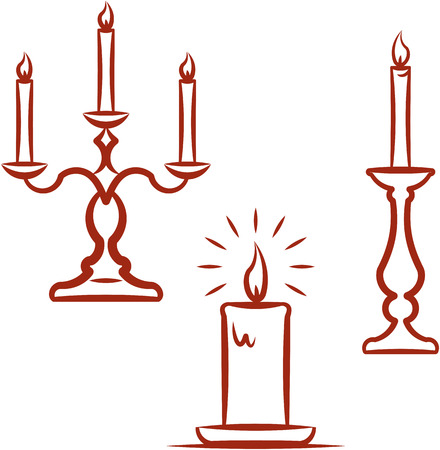Burning candles and candlesticks. Vector illustration Ilustração