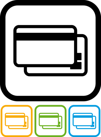 Bank plastic debit credit cards vector icon