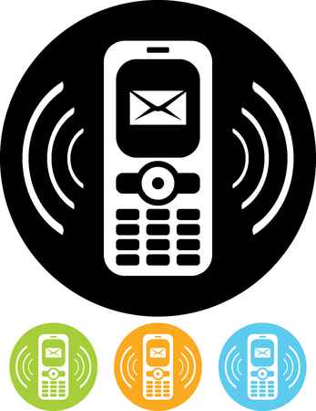 Mobile phone ringing new message alert  Vector icon