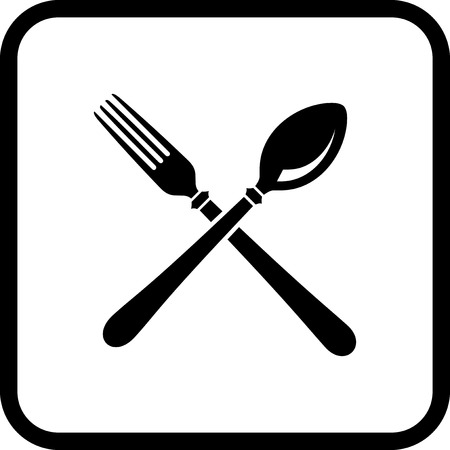Fork and spoon - Vector food court icon isolated on white Illusztráció