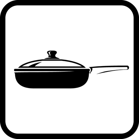 Frying pan - Vector icon isolated on white